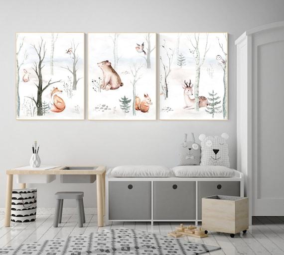 Nursery decor woodland animals, gender neutral nursery, Woodland Nursery Wall Art, Woodland animal prints, forest, animal nursery wall decor