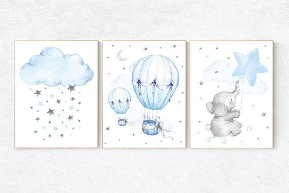 Blue nursery decor, Nursery wall art boy, Boy bedroom print, set of 3, Elephant nursery print, Animal print for nursery, hot air balloon
