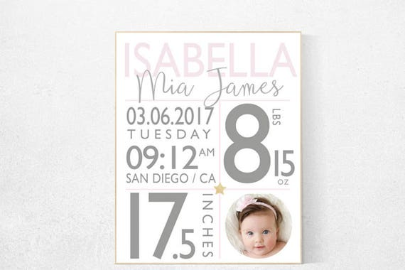 Baby birth print, Girl birth announcement nursery decor, pink nursery decor,  pink gold nursery, baby stats, new baby, baby name print