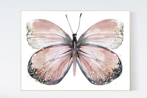 Canvas Listing: Nursery decor girl butterfly, blush, blush pink, Butterfly Nursery Art, girls room, butterfly prints, Butterfly Art