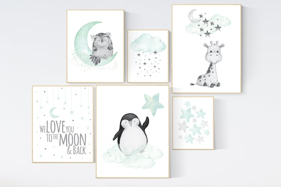 Canvas Listing: Nursery decor animals, mint nursery wall art, cloud, stars, mint nursery, we love you to the moon and back