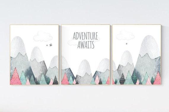 CANVAS LISTING: Nursery decor girl mountain, adventure nursery, adventure theme nursery, woodland, gender neutral