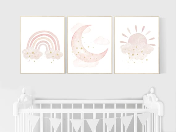 Nursery prints rainbow, blush Nursery decor girl, blush gold nursery wall art, blush pink, moon star, cloud, nursery wall art, sun nursery