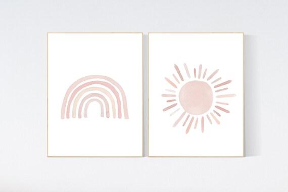 Nursery prints rainbow, Nursery decor girl, nursery wall art, blush pink, moon star, cloud, nursery wall art, light coral, blush, rainbow