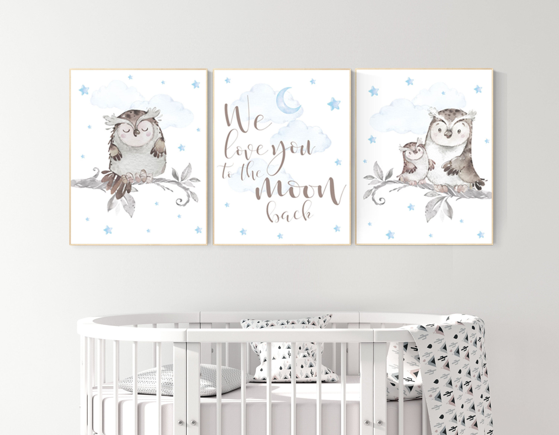 Nursery Decor Boy Owls Owl Nursery Nursery Wall Art Boy Owl Print Nursery Owl Print Baby Baby Nursery Decor Baby Room Decor Boy