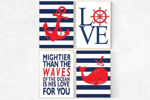 Nautical boy nursery, mightier than the waves, nautical baby room, Nautical Nursery Art, Navy red Nursery Decor, navy nursery, whale nursery