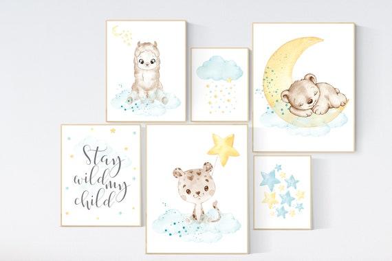 Nursery decor yellow teal, animal prints, llama, jaguar, bear nursery, gender neutral, animals , nursery wall art