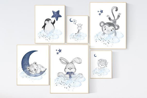 Nursery decor boy animals, giraffe, lion, bear, bunny, penguin, boy nursery decor, moon and stars, navy and blue nursery, boy nursery art