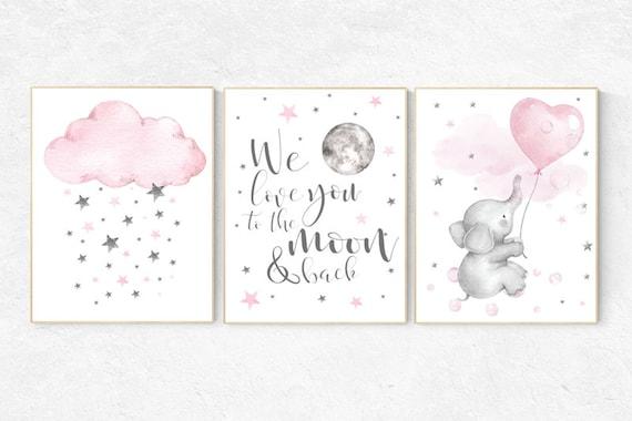 Nursery decor girl pink, nursery wall art girl, Nursery decor girl pink and gray, Baby room decor elephant, we love you to the moon and back