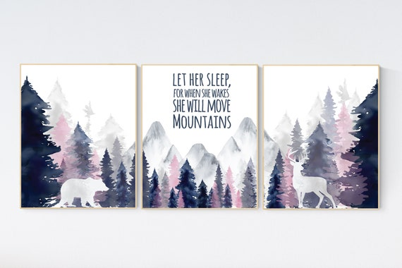 Nursery decor woodland, mountain wall art, tree nursery decor, adventure theme nursery, forest, navy, blush, gold woodland animals, forest