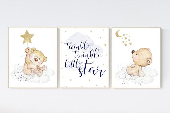 Nursery decor bear, nursery decor boy, bear nursery print, navy blue and gold, teddy bear decor, nursery wall art animals, boy nursery art