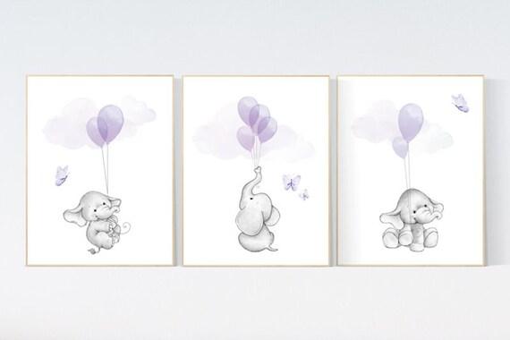CANVAS LISTING: nursery decor girl purple, elephant nursery, lavender and gray, lilac, elephant balloons, butterflies