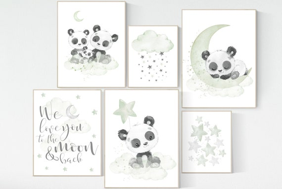 Panda nursery, green nursery decor, gender neutral prints, nursery wall art, panda prints, animal nursery wall art, neutral nursery