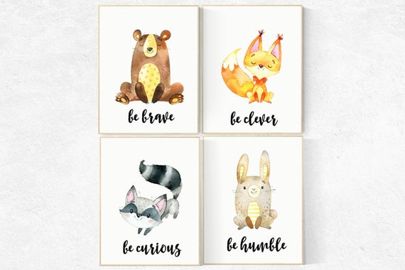 Woodland Animals, Woodland Nursery, be brave, Woodland Animal Art, Forest Nursery Print, Woodland Creatures, Woodland Room Decor,