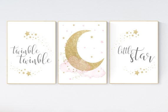 Twinkle twinkle little star, Nursery wall art girl pink gold, baby room decor girl gold and pink, cloud and stars, baby room, moon print