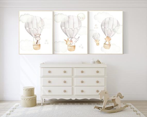 Nursery decor neutral, hot air balloon, woodland animals, gender neutral, baby room decor, elephant, bunny, giraffe, nursery prints