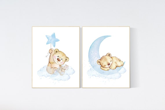 Nursery wall art bear, nursery decor animals,  nursery decor woodland, nursery prints blue, teddy bear, baby blue, baby bear nursery