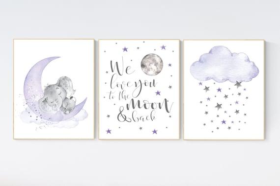 Nursery decor girl purple, lilac nursery, we love you to the moon and back, purple nursery, Nursery decor girl lavender, moon and stars