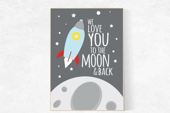 Space nursery decor, Love you to the moon and back, kids room decor, nursery prints, outer space nursery, space decor, space themed nursery