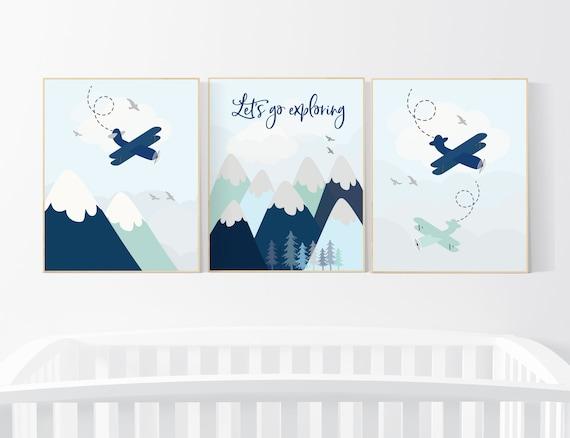 Adventure nursery decor, travel adventure nursery, nursery wall art boy, nursery prints boy mountain, airplane, world map, explore nursery