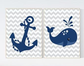Nautical nursery prints, navy nursery decor, boys room decor, whale nursery, Nautical decor, whale nursery decor, nursery decor boys,