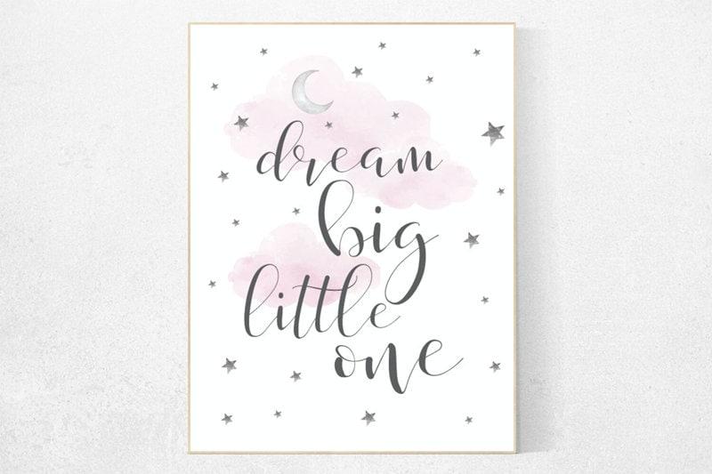 6b89f3c2497d8 Pink nursery decor, nursery decor girl, nursery wall art girl, dream ...