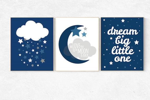 Nursery decor boy navy, navy blue nursery wall art, navy blue nursery wall decor, dream big little one, cloud and stars nursery, boys room