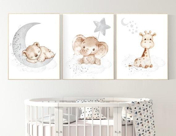 Nursery wall art animals, gray nursery, gender neutral nursery, neutral nursery, baby room decor, bear, elephant, giraffe, animal prints