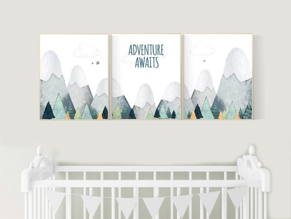 Nursery decor boy mountain, adventure nursery, adventure theme nursery, woodland, gender neutral, adventure awaits, mountains nursery forest