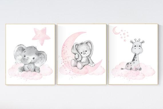 Animal nursery, nursery decor girl pink gray, nursery decor girl woodland animals, bunny, elephant, giraffe, baby girl nursery prints