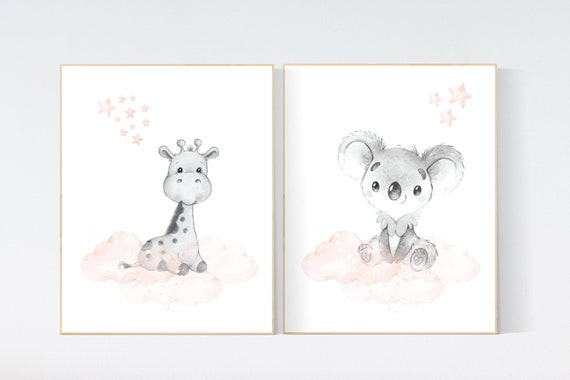 CANVAS LISTING: Nursery decor girl blush gray, Animal nursery, nursery decor girl woodland animals