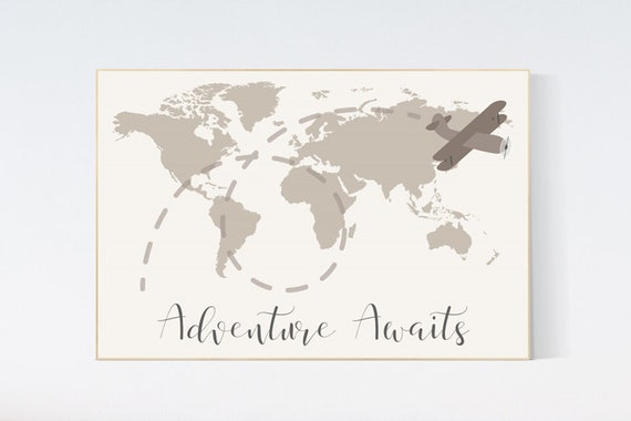World map nursery, nursery wall art neutral, woodland nursery, adventure awaits, world map wall art nursery, gender neutral, airplane