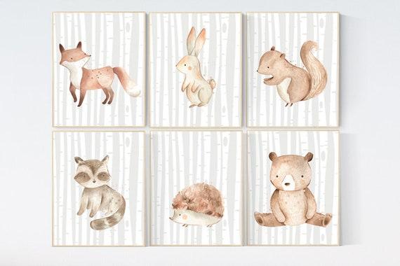 Nursery decor woodland, nursery decor animals. Woodland Nursery Wall Art, Woodland nursery art, nursery decor neutral, Woodland Print Set