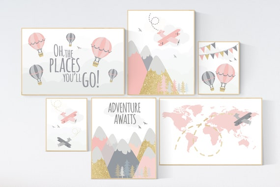Adventure nursery wall art set, nursery decor girl, travel theme nursery, pink and gold, adventure awaits, world map, baby nursery decor