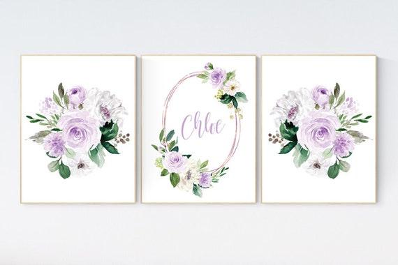 Nursery decor girl flower, Nursery decor girl lavender, nursery decor girl floral, purple, lilac nursery, nursery decor girl name, boho