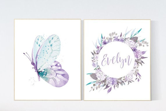 Nursery decor girl purple, nursery decor girl name, butterfly nursery wall art, lavender nursery, lilac nursery, girls room decor purple