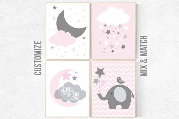 Pink Gray Nursery Art, Baby Girl Nursery Decor, Nursery Print, Baby Girl Pink Nursery Art, set of 4, Baby Girl Wall Art, cloud nursery print