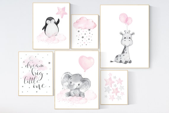 Nursery wall art girl animals, pink grey, nursery decor girl pink, penguin, elephant, bear, moon and stars, baby room decor girl, pink gray