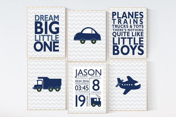 Transportation nursery, baby birth stats, Baby Boy Nursery, dream big little one, transportation boys room decor, train, truck plane, car