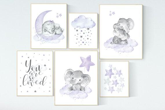 Canvas Listing: Nursery decor girl purple, nursery decor elephant girl, moon and stars, nursery prints girl, lavender, star nursery