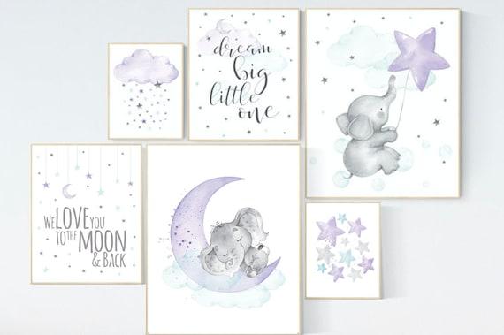 Purple mint nursery wall art, Nursery decor girl purple, purple nursery, lilac nursery print, lavender, purple teal, baby girl nursery, aqua