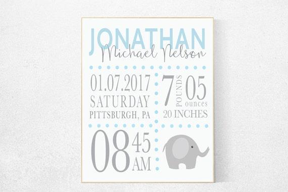 Birth stats wall art, blue nursery prints, baby boy gift personalized, Nursery Birth Stats, nursery prints, baby name wall art new baby gift
