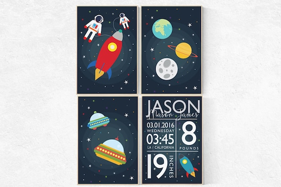 Baby birth stats, Space nursery decor, Outer Space Room Art, Boy Nursery wall art, Space Decor, space nursery art, playroom decor, kids room