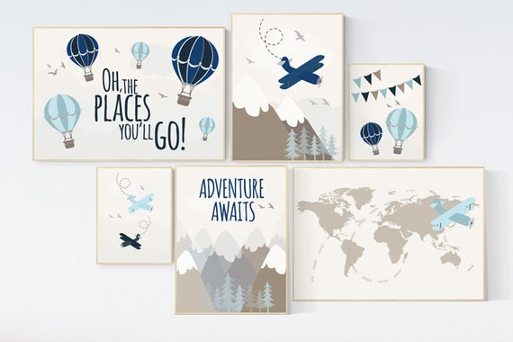 Travel themed nursery, hot air balloon, adventure nursery, mountain, adventure awaits, planes, world map, gender neutral, nursery prints