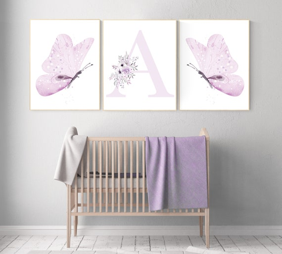 Nursery decor girl lavender, butterfly, nursery decor girl name, lilac, Butterfly Nursery Art, Girl Nursery Art, purple, girl nursery