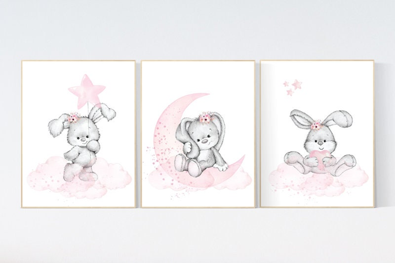 Rabbit prints Bunny Nursery Wall Decor Prints