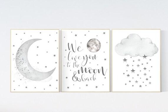 CUSTOM LISTING: Canvas Prints, Nursery wall art grey, gray nursery, nursery decor neutral, baby room decor gender neutral, moon and stars