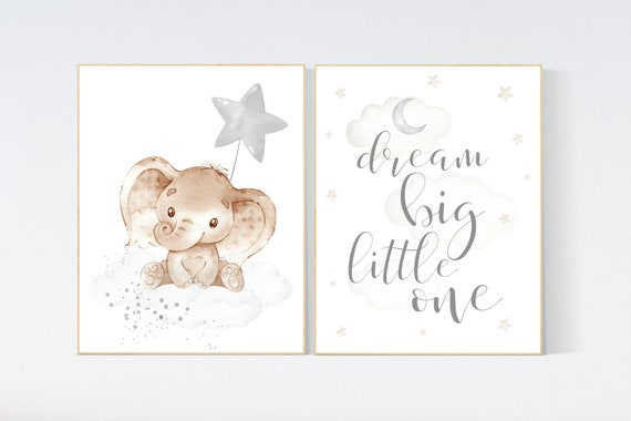 Nursery wall art animals, gray nursery, gender neutral nursery, neutral nursery, baby room decor, elephant, dream big little one