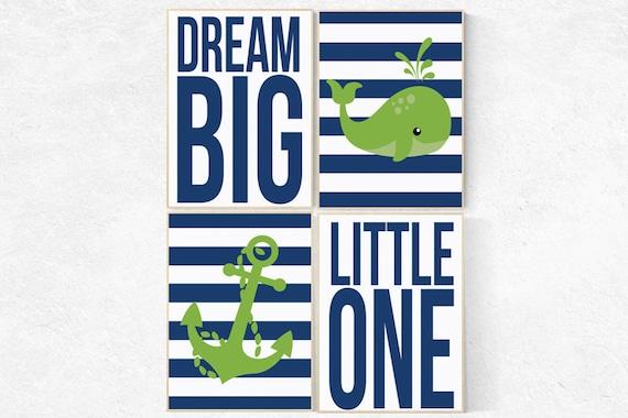 Nautical Nursery Art Print Set , Navy Blue, Green, dream big little one, whale nursery decor, baby boy nursery nautical prints nursery decor