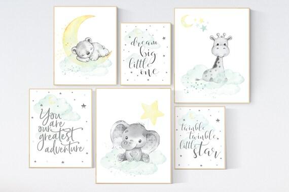 Mint and yellow nursery, gender neutral nursery wall art, moon and stars nursery, baby room decor, animal nursery, elephant, giraffe, bear